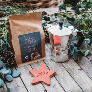 Coffee and coffee pot with Christmas biscuit gift set